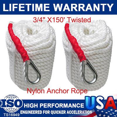 "3//4/""x150/' Twisted Three Strand Nylon Boat Anchor Mooring Rope Dock Line Thimble"
