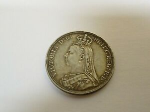 Collectable-Antique-1890-Victorian-Sterling-Silver-Crown-Coin-ref-2