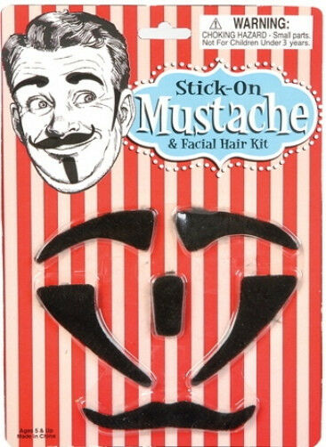 Fake Party Mustache Facial Hair And Sideburns Kit Costume Side Burns Halloween