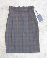 $935 Alexander Mcqueen Gray Checked Wool Skirt 38