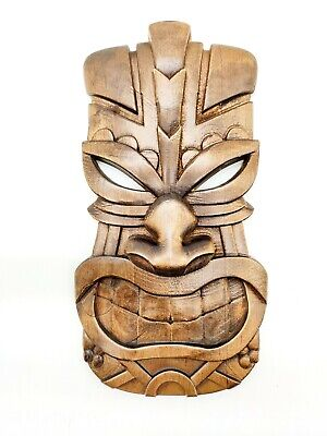 Hawaiian Tiki Mask Wooden Tiki Mask Wall Plaque 27x15 Cm Hand Stained Carved Ebay