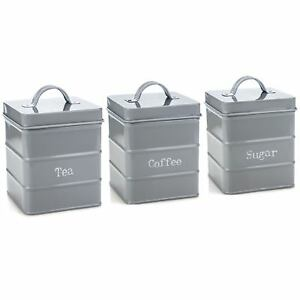 Kitchen Tea Coffee Sugar Canisters in Vintage Metal Grey Storage Container Tin