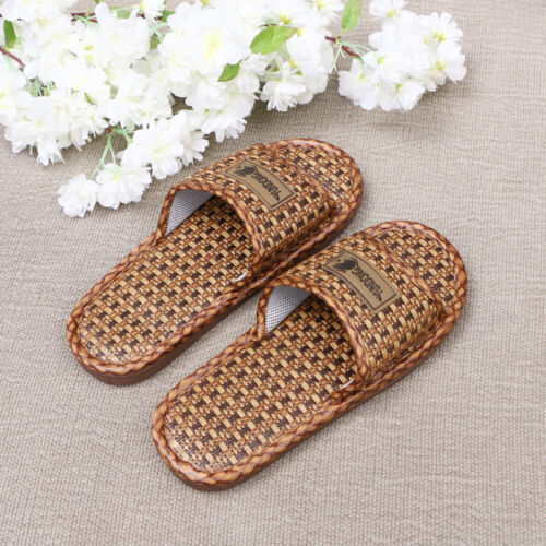 2 Pcs Summer Slipper Breathable Straw Bamboo and Rattan Spa Sandal for Bar Hotel