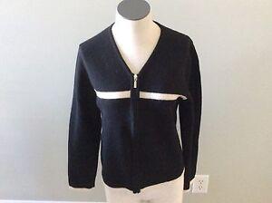 Voorzijde V 100Wol hals Rits Zwart Sweater Taylor Lange M Creme Ann mouw YWEDIHe29