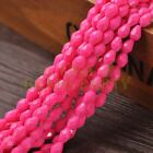 New Arrival 30pcs 8X6mm Faceted Teardrop Loose Spacer Glass Beads Rose Red