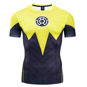Men-039-s-T-shirts-Iron-man-Superhero-Avengers-3D-Printed-Tights-Sports-Yellow-Tops