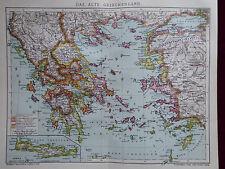 Landkarte, Das alte Griechenland, Greece, Mare Aegaeum, Brockhaus 1903