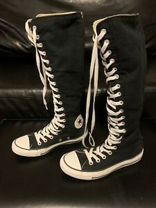 Details about Converse All Star Chuck Taylor Knee High Black Canvas Lace Up Sneakers Womens 7