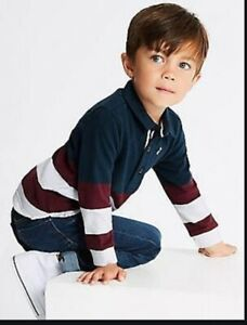 Boys rugby shirt top M /& S baby 3 6 9 12 18 months 2 3 4 5 6 7 years RRP £10-16