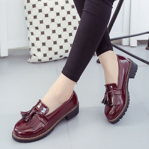 Women-039-s-Creepers-Slip-On-Wedge-Loafers-Mid-Platform-Tassel-Patent-Leather-Shoes
