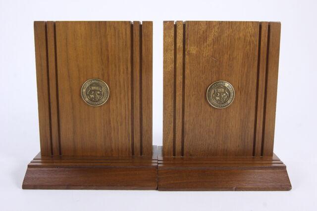 University Of Missouri Book Ends Solid Wood With Brass Crest Mizzou Souvenir
