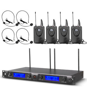 Pro-Audio-UHF-Wireless-Microphone-System-4-Channel-4-Lavalier-4-Headset-Bodypack