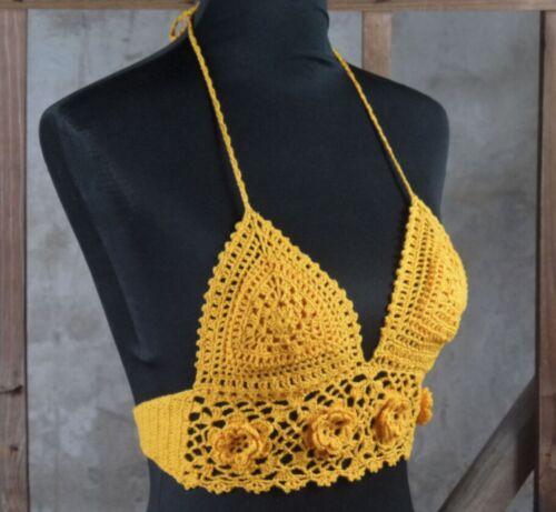 Handmade Boho Gypsy Floral Ethnic Punk Crochet Crop Top Bikini Goth Hippy Tribal