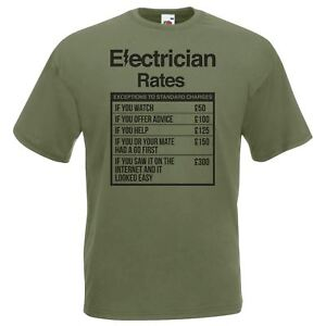 Mens-Olive-Electrician-Rates-T-Shirt-Sparky-Student-TShirt-Funny-Novelty