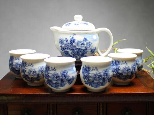 """Chinesisches Teeservice Porzellan /""""Chrysanthemen im Mondschein/"""" blau-weiß"""