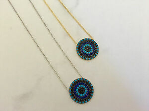 Sterling-Silver-Gold-Cubic-Zirconia-CZ-Turquoise-Evil-Eye-Mati-Nazar-Necklace