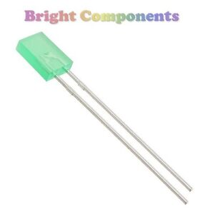 10 x Rectangle Diffused Green LED 2x5x7mm - 1st CLASS POST - UK