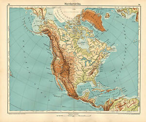 1908 Map North America Physical United States Mexico Canada