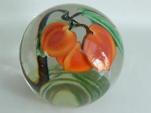 Orient-amp-Flume-Crystal-Cased-Sweet-Peaches-L-Hudin-Paperweight-1986-EC