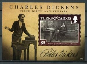 Turks-amp-Caicos-2012-neuf-sans-charniere-Charles-Dickens-200th-naissance-1-V-S-S-ecrivains