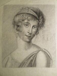 Ecole FRANCAISE XIX DESSIN PORTRAIT FEMME MODE NEOCLASSIQUE EPOQUE EMPIRE 1810