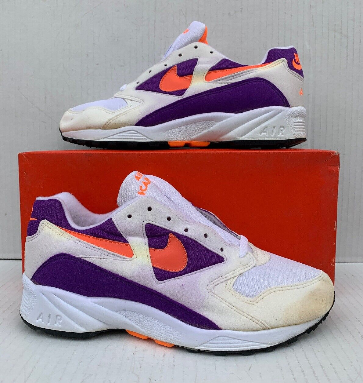 Vintage Nike Air Icarus Extra White Radiant orange Purple DS Size 9 104012-180