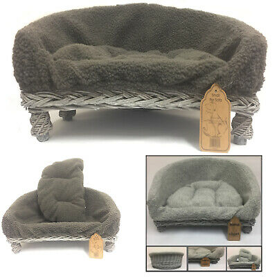 Astounding New Grey Wicker Pet Sofa Bed Cat Dog Puppy Raised Couch Basket Fleece Cushion Ebay Andrewgaddart Wooden Chair Designs For Living Room Andrewgaddartcom