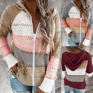Women-Long-Sleeve-Knit-Hooded-Sweater-Zipper-Patchwork-Hoodie-Pullover-Jumper-UK