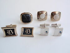 Vintage Group Lot Mens Cuff Links Swank Hickok USA Mother of Pearl Blue Stone