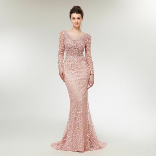 Gorgeous Long Sleeve Beaded Crystals Embroidered Evening Dress Pageant Prom Gown