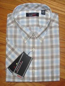 Roundtree Mens SS Blue Coral Plaid Travel Shirt 2X B 3X B NWT