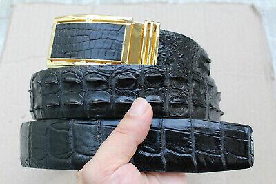 No Jointed Genuine handmade ALLIGATOR Leather Skin Men/'s Belt Black