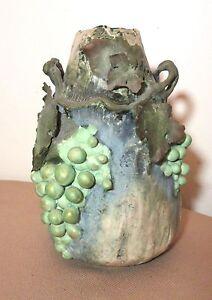 ANTIQUE HANDMADE détaillé autrichien Teplitz Amphora Grape Vine Leaf Pottery Vase-afficher le titre d`origine PnJKETHs-09085749-265623112