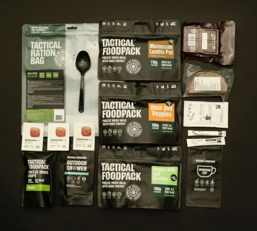 Tactical Foodpack 3 Meal Ration VEGAN ARMY MRE Outdoor Essen NOTRATION