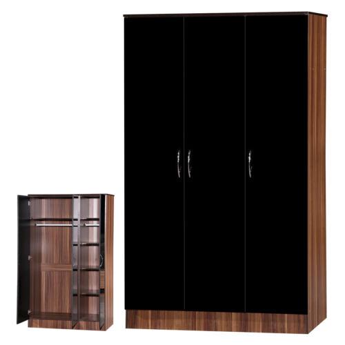 Black Gloss /& Walnut Bedroom SetWardrobe Dressing Table Desk Drawer Bedside
