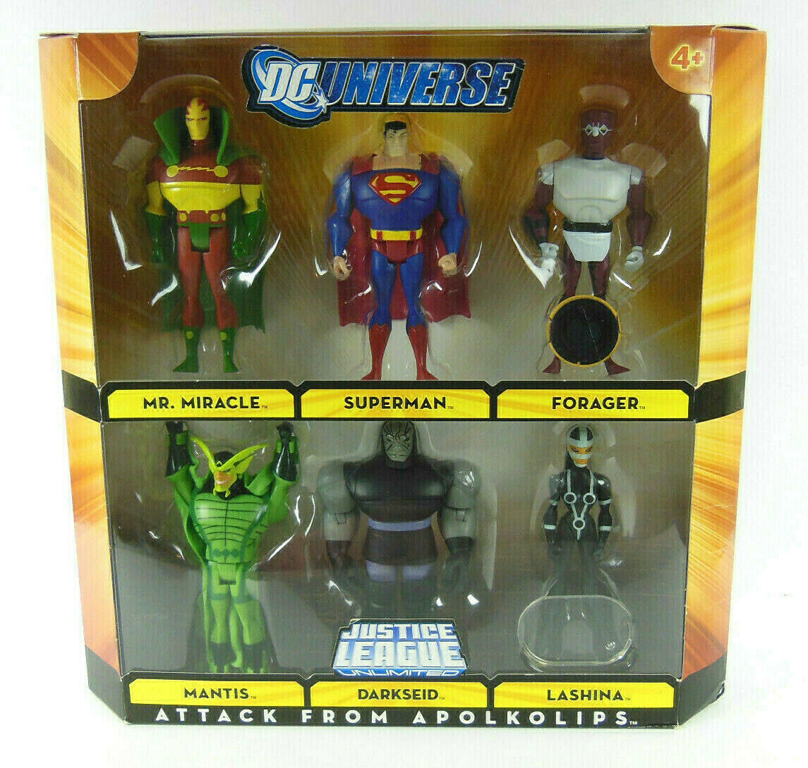 DC Universo ataque de apolkolips; súperman, Darkseid, Lashina, Mantis, más
