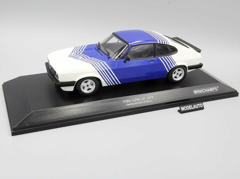 Minichamps 1:18  FORD CAPRI 3,0  1978  bianca  / blu  L.E. 350  pcs.