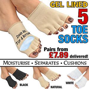 Gel-Abierto-5-Toe-Socks-Cojin-Pies-Piel-Seca-Pie-De-Atleta-Hidratante-Separador