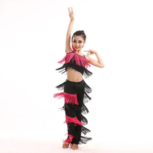 Ragazze Latino Vestiti Abiti Gilet e Pantaloni Nappa Danza Wear Bambini Eseguire