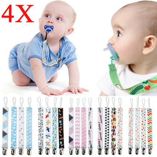 4X//Set Baby Dummy Clips Boys Girls Pacifier Teether Toys Chain Holder Strap Clip
