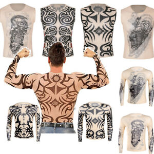 Fashion-Men-Fake-Tattoo-T-Shirt-Crop-Tops-Party-Exotic-Costume-3D-Print-Shirt
