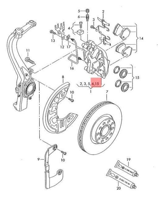 Genuine Set Of Gaskets For Brake Caliper Housing Audi Vw 4d0698471