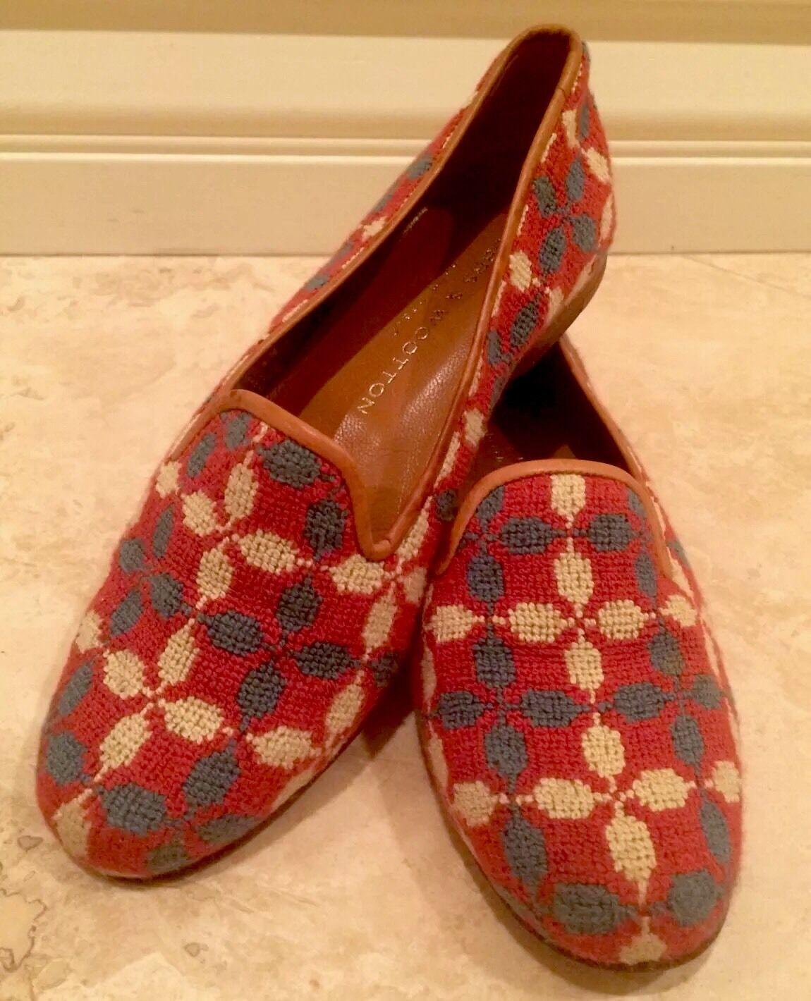 al prezzo più basso STUBBS & WOOTTON rosa blu Spanish Cross Cross Cross Needlepoint Leather Flat Loafer 6M Nice  sconto online