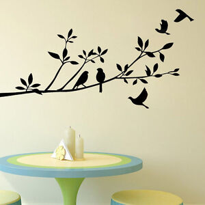 Image Is Loading Birds Tree Branch Mural Removable Art Decal Vinyl