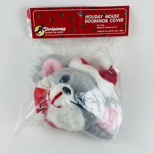"VTG 1986 7"" House Of Lloyd Christmas Santa Mouse Plush Door Knob Cover New"