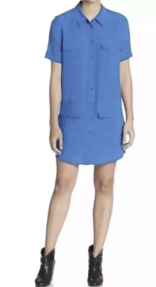 Equipment Woherren Blau Remy Silk Shirtdress. Größe XS.