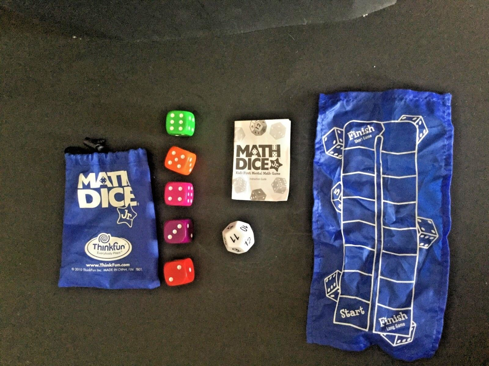 Think Fun Math Dice Jr Travel Game Complete, instruction book