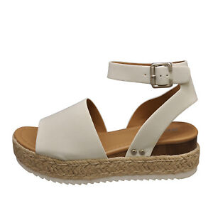 4ac7d98df Soda TOPIC Off White Women s Platform Wedge Espadrille Sandals