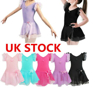 UK Kids Girls Dress Lace Leotard Dancing Fancy Dress Ballet Skating Tutu Skirts