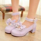 Womens Mid Heek Platform Buckle Pumps Casual Bowknot Sweet Lolita New Shoes Plus